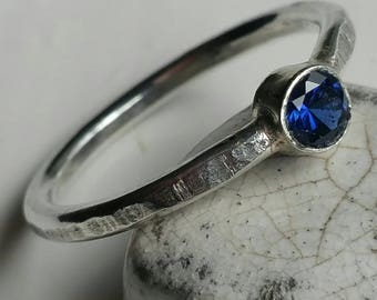 Silver Stacking Ring with 4mm Round Blue Sapphire Size 7.5 (P) - Postage Included