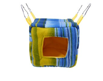 Rat Cube, Hedgehog Cube, Guinea Pig Cube - Cube Hide - Blue and Yellow Stripes Fleece - hedgehog house, small animal bed, cage bedding