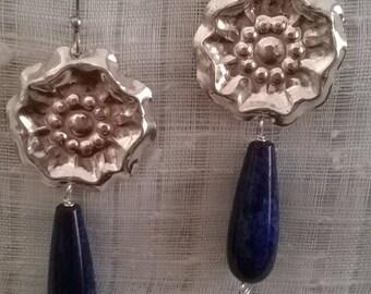 0recchini Silver Flower and lapis lazuli