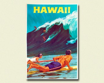 Hawaii Travel Print 1958 - Vintage Travel Poster Hawaii Poster Hawaii Print Travel Wall Art Travel Decor Gift Idea Waves