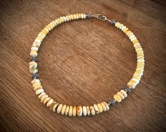 necklace white baltic amber butterscotch egg yolk sterling silver beads