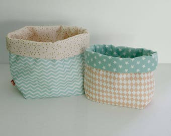 Set of two storage baskets reversible shades Pink White Gold mint patterned graphic Scandinavian style