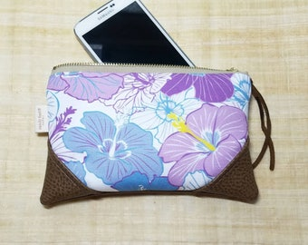 Mini Hibiscus Zipper Pouch / Mini Clutch with inside lining and Suede Zipper Pull or Leather Wristlet Strap