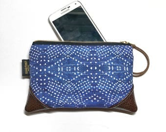 Mini Indigo Boho Denim Zipper Pouch / Mini Clutch with inside lining and Zipper Pull or Leather Wristlet Strap