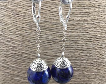 Earrings and lapis lazuli gemstones and Silver 925 dark blue earrings, resin.