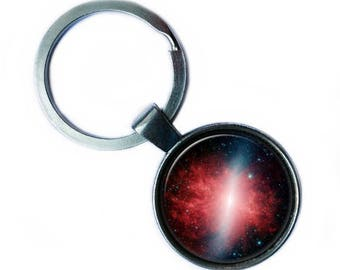 NASA Photograph Red Galaxy Keychain Keyring