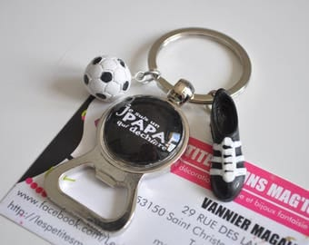 Keychain bottle opener I'm a dad who rocks personalized football themed