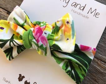 Tropical Top Knot / Headband / Knotted Headband / Stretchy Headband / Jersey Knit Headband / Flowers / Palm / Colourful / Summer