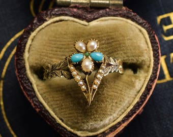 Antique Georgian Regency Period Turquoise & Pearl Pansy Ring in 15k Gold, c1810