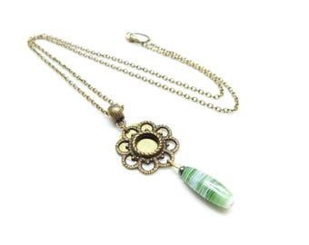 Long necklace ~ ¤ ~ Emerald flower ~ ~ ¤