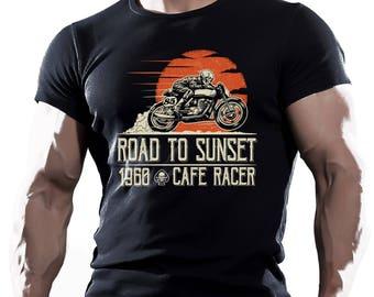 Road to sunset. Black T-shirt