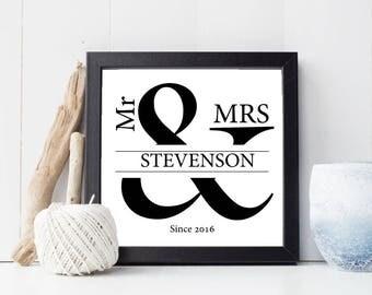 Personalised Mr & Mrs Ampersand Print