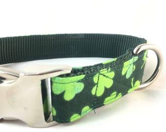Lucky Green Shamrock Dog Collar for St Patricks Day - Irish clover Dog Collar - shamrock dog collar - Green dog collar - Dog Collar