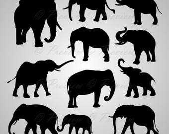 Buy 2 Get 1 Free! Digital Clipart Elephant Silhouettes, African Wild Animal, giant party, black images png/eps/svg/dxf and studio files