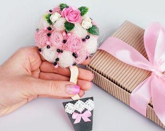 bridesmaid gift ideas bridal shower gift magnet unique magnet pink roses magnet large fridge magnet flower gift for bride FM35
