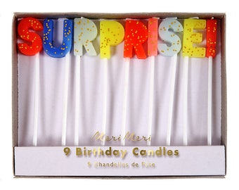 Surprise Birthday Candles | Surprise Party Birthday Decor | Surprise Meri Meri Candles | Toot Sweet Candles | Colorful w/ Glitter