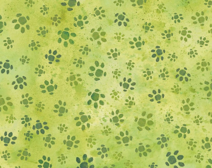 Hedgehog Village by Paintbrush Studio - Hedgehog Tracks Green - Cotton Woven Fabric