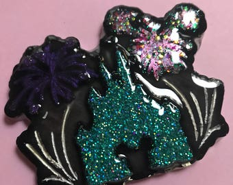 Castle and Fireworks Brooch