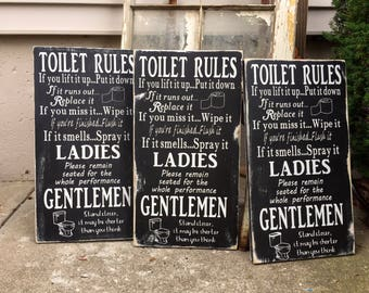 bathroom rules sign, funny bathroom wall decor, toilet sign, bathroom wood sign, bathroom wooden sign, bathroom wall art, bathroom humor
