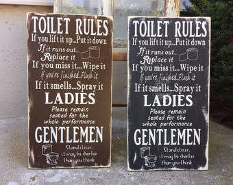 Bathroom Rules Wall Art bathroom rules | etsy