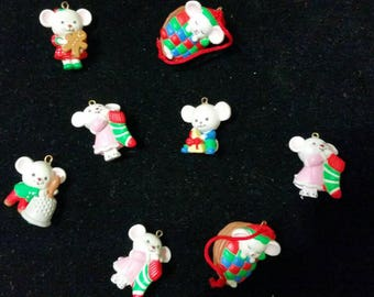 "NEW,AVON gift collection 8 Mouses ""Mini Ornaments """