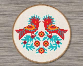 Polish Wycinanki Birds - PDF Cross Stitch Pattern