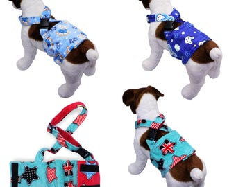 Dog Diaper Belly Band Soft FLEECE With SUSPENDERS Reusable Washable