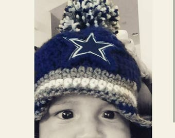 0-3 months Dallas Cowboys inspired Baby beanie with earflaps