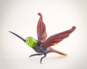 Hand-Blown Glass Hummingbird Figurine