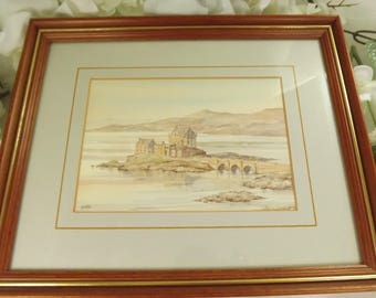 Eilan Donan , Scottish Castle Watercolour Print , Allan Morgan , Framed