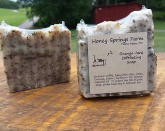Coffee soap -Orange Java soap exfoliating natural handmade soap -great for garden hands made with rainwater from Honey Springs farm