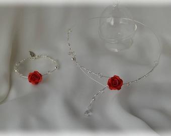Parure collier et bracelet argentée, perles et cristaux de Swarovski, roses rouges - mariage, Noel, réveillon, bridal adornment, silver