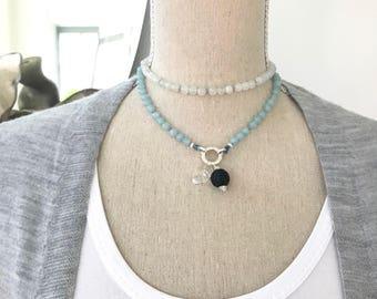 Aquamarine and Moonstone Mala Beads Necklace no Tassel, Customizable Mala Beads Necklace, Japa Mala 108 Prayer Beads, Knotted Necklace