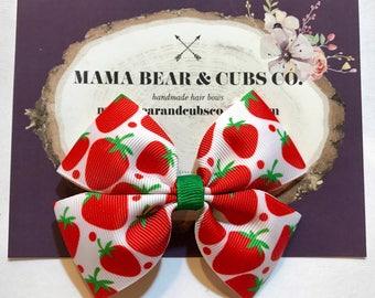 strawberry hair bow, hair bows, hair clips, girls hair bows, hair bows for girls, boutique bows, kids bows