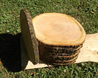 """10 Natural Wood Log Slices 12"""" to 14"""" Crafts Rustic Wedding Cabin Décor Disk"""