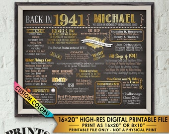 "77th Birthday Flashback to 1941 Poster, Back in 1941 B-day Party Custom Landscape Chalkboard Style PRINTABLE 8x10/16x20"" 1941 Flashback Sign"