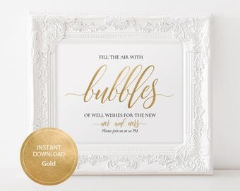 Editable PDF 8x10 Gold Bubbles of Well Wishes Sign Calligraphic Wedding Bubbles Send Off Template DIY Printable Send Off Sign #DP130_18