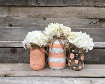 Striped Mason Jars, Polka Dot Mason Jars, Birthday Party Centerpiece, Baby Shower Centerpieces, Party Table Decor, Baby Shower Decor