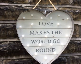 Heart Sign LED Battery Wall Light Love Makes The World Go Round Handcrafted by Crystal Kitty Gifts