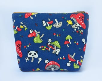 Panda Mushrom Travel Pouch • Cosmetic Pouch, Cute Makeup Bag, Canvas Zipper Pouch, Organizer, Japanese fabric, Holiday Gifts