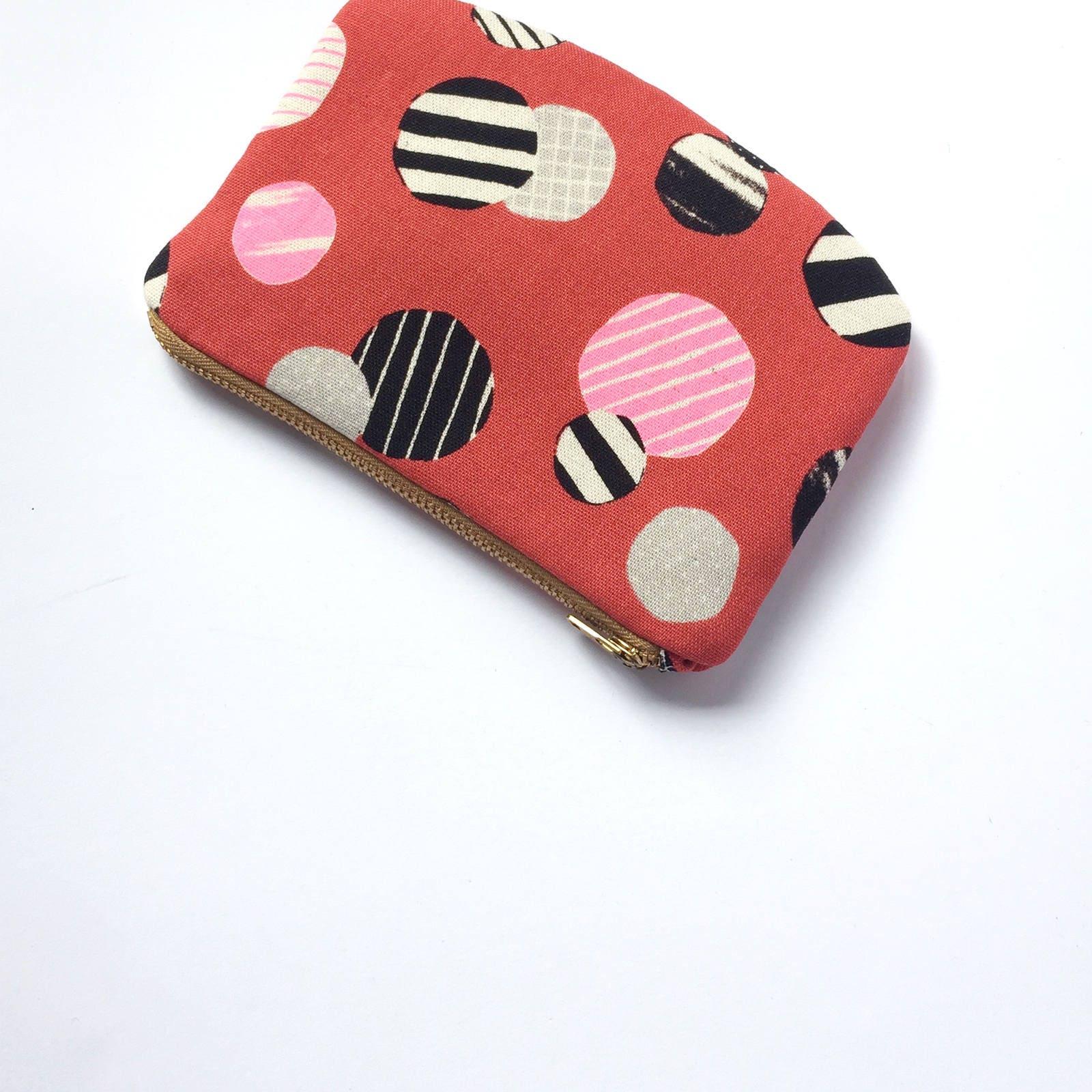 circles canvas zipper pouch travel purse wallet coin purse