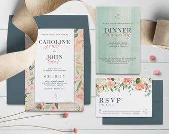 Pretty Pastel Watercolor Floral Wedding Invitation Suite(DIGITAL FILE)