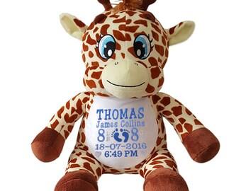Personalised Giraffe , Personalised Remembears Teddy Bear,Personalised Teddie, Personalised Baby Gift, Gift For Newborn Baby,