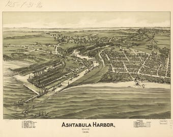 Ashtabula, OH Panoramic Map from 1898. This print is a wonderful wall decoration for Den, Office, Man Cave or any wall