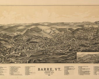 Barre VT Panoramic Map dated 1891. This print is a wonderful wall decoration for Den, Office, Man Cave or any wall.