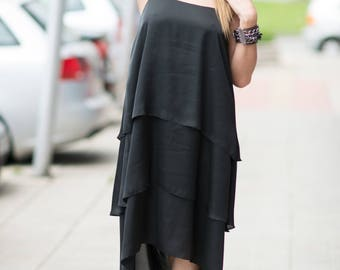 Black summer dress, Romantic dress, Elegant Dress, Bridesmaid dress, Summer Dress, Party Dress, Plus Size Dress, Black Dress by EUG FASHION
