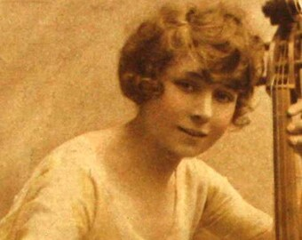 Girl with Bass-Viol   Raphael Tuck   Studio Portrait   Antique English Belle Epoque Hand Coloured Postcard   Birthday Greetings   1917