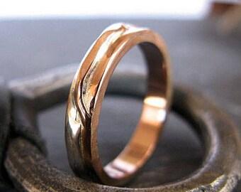 14K Rose Gold Ring Mens Wedding Band Mens Wedding Ring Mens Wedding Rings Rustic Wedding Band Unique Mens Wedding Band Viking Wedding Ring