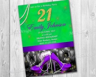 21st Birthday Invitation.30th Birthday Invite.Woman Birthday Invitation.Green and Purple Invitation.Teal invite.Purple shoes invit-ONLY FILE