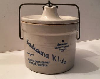 Wisconsin Cheese Crock Kaukauna Klub Advertising Primitic Rustic Farmhouse Kitchen Decor